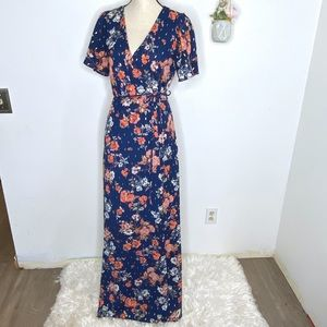 Lulu's Blue Floral Wrap Maxi Dress Divine Days